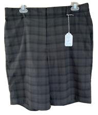 Walter Hagen Men's Size 34 Stretch Casual Waistband Black Plaid Golf Shorts