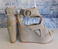 Bettye Muller Gray Harper Suede Leather Strappy Platform Wedge Sandals - 37