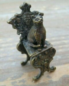 A Sweet Miniature Bronze Of A Cat Sat On A Throne After Franz Bergman