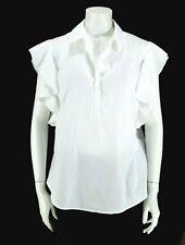 Chico's sz 2 (L) White Cotton Blend Short Ruffle Sleeve Half Placket Top/ Blouse