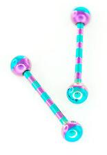 "Pair 14g 5/8"" Titanium Green Purple Candy Striped Tongue Rings Nipple 5mm Ball"