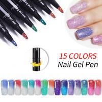 LEMOOC 5ml Nail Gel Pen Thermal Color Changing Gel Polish  Holo UV Gel