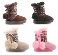 Cute Side Zipper Pompoms Faux Fur Toddlers Kids Girls Boots Shoes Size 5 - 10