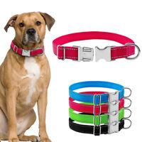 Safety Reflective Nylon Pet Dog Collars Medium Large Heavy Duty Metal Buckle
