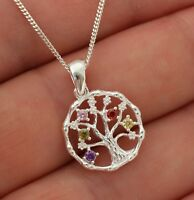 925 Sterling Silver Tree of Life Pendant Necklace Jewellery Gift Box