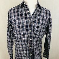 Peter Millar Dress Shirt Medium Mens Navy Blue Brown White Plaid 100% Cotton