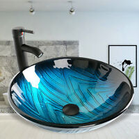 Tempered Bathroom Glass Vessel Sink Drain Faucet Round Bowl Vanity Combo Basin