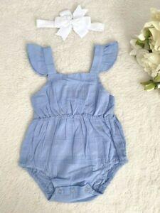 size 0-3m/3-6m new baby girl romper 100% cotton blue romper & headband set