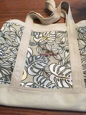 Tommy Bahama  Vintage Women's Canvas Beach Tote Bag Palm Leaves Large 18x15x7