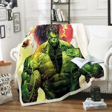 Large Thick Blanket Fleece Throw Sofa Soft Warm Faux Fur Cartoon Superhero Hulk