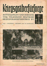 Zeitschrift 1949 Kriegsgräberfürsorge Mitteilungen und Berichte 25. Jahrgang