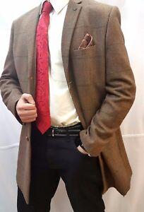 Men's Marc Darcy Designer Tan Checked Herringbone Tweed 3/4 length coat jacket