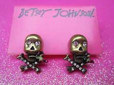Betsey Johnson Skull Cross Bones Stud Earrings