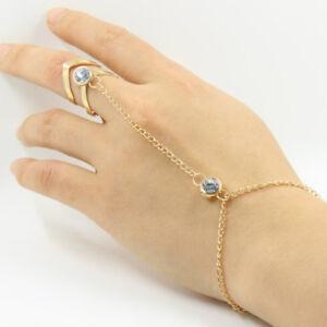 Adjustable Women Rhinestone Gold Plated Ring Bracelet Hand Chain Jewelry Gift