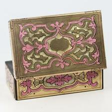 RARE Antique French Pink Boulle Wax Seal Box, Etui, Mother of Pearl Handled Seal