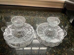 Zabkowice Pressed Glass Candle Stick Holder Chamberstick Handle Farmhouse Pair