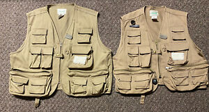 Father Son Matching Fly Fishing Outdoors Tan Vest w/ Pockets Ausable ER500 XXL&S