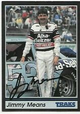 JIMMY MEANS  LEGEND WINSTON CUP Autographed Signed CARD   1991 TRAKS