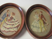2 Antique Needlepoint Victorian Couples in  Oval Wood Frames