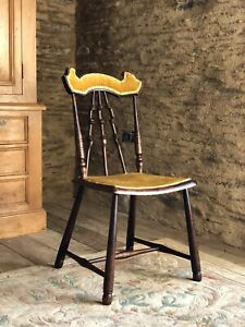 Unusual Small Antique Stick Back Chair With Mustard Upholstry