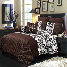 Bliss Chocolate and White Queen Size Luxury 8 Piece Comforter Set 100% Polyester