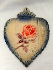 Vintage TO MY VALENTINE POST CARD with Folding Colored Crepe Heart with Rose