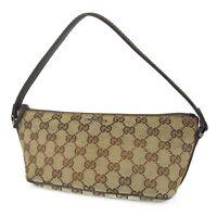 Sale! Auth GUCCI GG Web Canvas Leather Accessory Pouch Mini Hand Bag 8909bkac