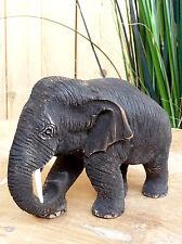 Elefant aus Holz, Figur, Teak, Buddha, Holzelefant, Gr.2, Höhe 12cm, Länge 20cm