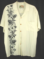 Paradise Found Hawaiian Aloha Shirt Sz L Ivory Cream with Black Hibiscus Floral