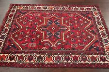 Antique Geometric Tribal Lori Qashqai Area Rug Red Hand-made Wool Carpet 4'x5'