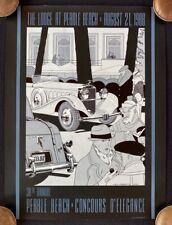 RARE 1988 Pebble Beach Concours Poster Ken Eberts HISPANO-SUIZA EXC