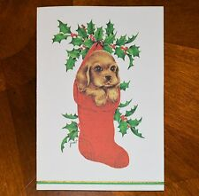 Vintage Unused Christmas Card Fravessi Puppy Cocker Spaniel Stocking Mid-Century