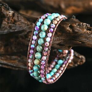 Natural Stone Turquoise & Emperor Jasper Beaded Wrap Cuff Bracelet Leather Cords