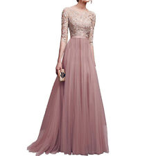 Women Lace Dress Long Sleeve Evening Prom Bridesmaid Wedding Party Dresses S-3XL