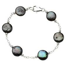 Sterling Silver Black Coin Pearl Bracelet 7.5 Inch 925 Cable Chain