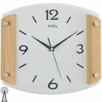 AMS Reloj De Pared Inalámbrico reloj Haya Cristal mineral Madera maciza Nuevo