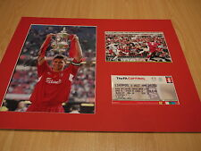 Mounted Steven Gerrard Signed Liverpool 2006 FA Cup Final Photo & Ticket Display