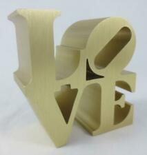 """Vintage 1970's ROBERT INDIANA """"LOVE"""" PAPERWEIGHT Gold Tone Brushed Aluminum"""