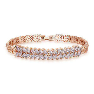 Valentine's Gift Horse Eye Natural White Topaz Gems Rose Gold Plated Bracelets