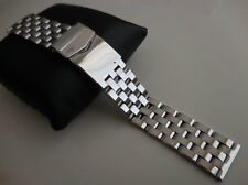 5-row 20mm Luxury All Solid Stainless Steel Link Watch Band Bracelet Pilot Style