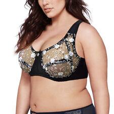 Full Coverage Lace Bra Unpadded Underwired Brassiere 34-44 A-DD E F Underwear