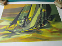 MARCEL MOULY ABSTRACT SAILING BOATS LITHOGRAPH PENCIL SIGNED AND NUMBERED
