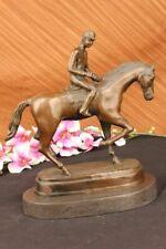 Jockey On Racehorse Equestrian Bronze Statue Sculpture Spanish Artist Figurine