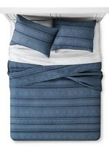 Industrial Shop Tonal Stripe Indigo Quilt Set ~ Twin