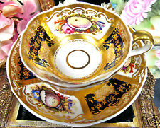 ANTIQUE HICKS & MEIGH HAND PAINTED SHELL  PORCELAIN TEA CUP AND SAUCER  c.1820