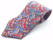 CHARLESTON Tie Rack Men's Vintage 100% Silk Multi-Color Graphic Tie Italy *NEW*