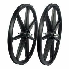 "Skyway Retro Tuff 7-Spoke BMX Wheelset Black 24x1.75 Bolt-On 3/8"" Axle FW Hub"
