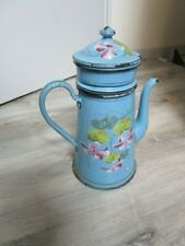 """Cafetière tôle émaillée bleu décor floral relief """" enamelware coffee pot"""""""