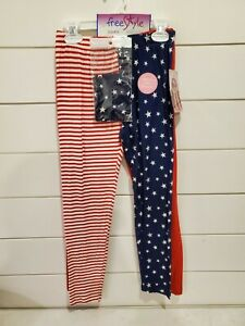 NWT Free Style 2 Pack Leggins And Headband Size 8 patriotic flag red, blue,