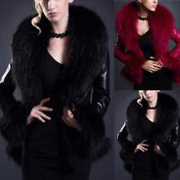 Damen Kunstleder Kunstpelz Jacke Winter Warm Slim Mantel Kurz Outwearlinie XL L